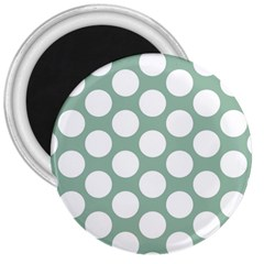 Jade Green Polkadot 3  Button Magnet