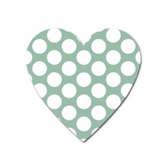 Jade Green Polkadot Magnet (heart) by Zandiepants