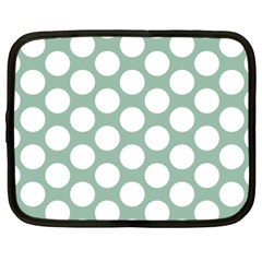Jade Green Polkadot Netbook Sleeve (xxl) by Zandiepants