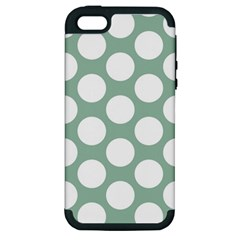 Jade Green Polkadot Apple Iphone 5 Hardshell Case (pc+silicone) by Zandiepants