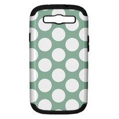 Jade Green Polkadot Samsung Galaxy S Iii Hardshell Case (pc+silicone) by Zandiepants