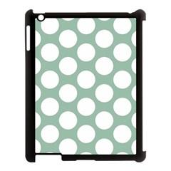 Jade Green Polkadot Apple Ipad 3/4 Case (black) by Zandiepants