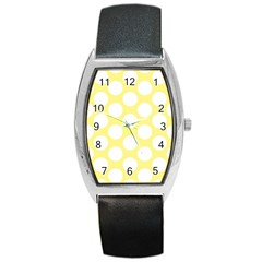 Yellow Polkadot Tonneau Leather Watch by Zandiepants