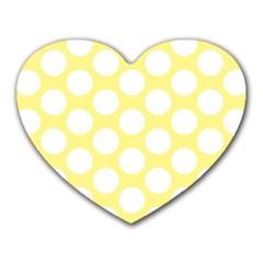 Yellow Polkadot Mouse Pad (heart) by Zandiepants