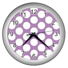 Lilac Polkadot Wall Clock (silver) by Zandiepants