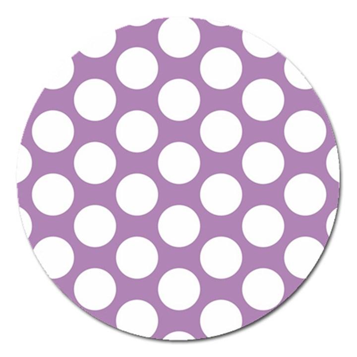 Lilac Polkadot Magnet 5  (Round)