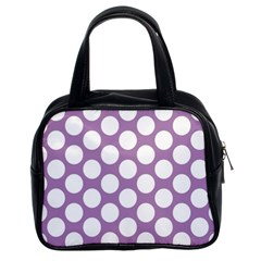 Lilac Polkadot Classic Handbag (two Sides) by Zandiepants