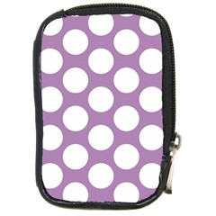Lilac Polkadot Compact Camera Leather Case by Zandiepants
