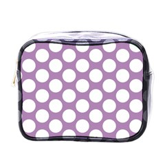 Lilac Polkadot Mini Travel Toiletry Bag (one Side) by Zandiepants