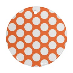 Orange Polkadot Round Ornament by Zandiepants