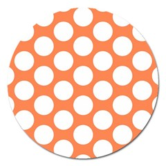 Orange Polkadot Magnet 5  (round) by Zandiepants