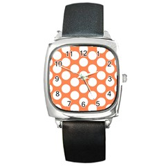 Orange Polkadot Square Leather Watch by Zandiepants