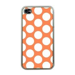 Orange Polkadot Apple Iphone 4 Case (clear) by Zandiepants