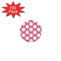 Pink Polkadot 1  Mini Button (100 Pack) by Zandiepants