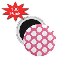 Pink Polkadot 1 75  Button Magnet (100 Pack) by Zandiepants