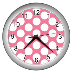 Pink Polkadot Wall Clock (silver) by Zandiepants