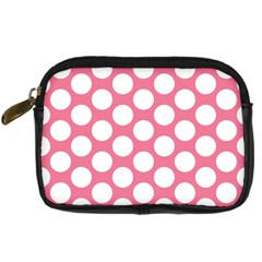 Pink Polkadot Digital Camera Leather Case by Zandiepants