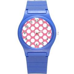 Pink Polkadot Plastic Sport Watch (small) by Zandiepants