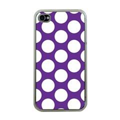 Purple Polkadot Apple Iphone 4 Case (clear) by Zandiepants