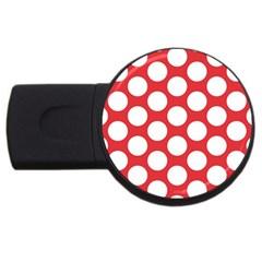 Red Polkadot 4gb Usb Flash Drive (round) by Zandiepants
