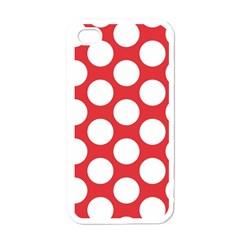 Red Polkadot Apple Iphone 4 Case (white) by Zandiepants