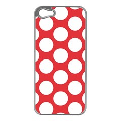 Red Polkadot Apple Iphone 5 Case (silver) by Zandiepants