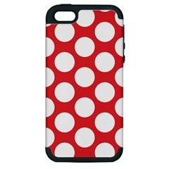 Red Polkadot Apple Iphone 5 Hardshell Case (pc+silicone)