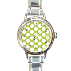 Spring Green Polkadot Round Italian Charm Watch by Zandiepants