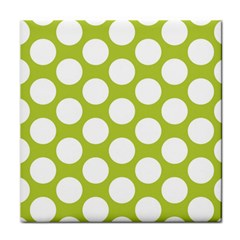 Spring Green Polkadot Ceramic Tile by Zandiepants