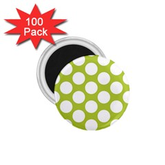 Spring Green Polkadot 1 75  Button Magnet (100 Pack) by Zandiepants