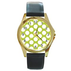 Spring Green Polkadot Round Leather Watch (gold Rim)  by Zandiepants