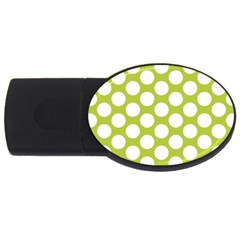 Spring Green Polkadot 2gb Usb Flash Drive (oval) by Zandiepants
