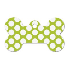 Spring Green Polkadot Dog Tag Bone (two Sided) by Zandiepants