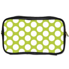 Spring Green Polkadot Travel Toiletry Bag (two Sides) by Zandiepants