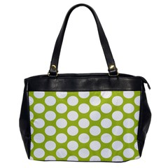 Spring Green Polkadot Oversize Office Handbag (one Side) by Zandiepants