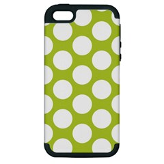 Spring Green Polkadot Apple Iphone 5 Hardshell Case (pc+silicone) by Zandiepants
