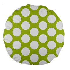 Spring Green Polkadot 18  Premium Round Cushion  by Zandiepants