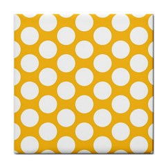Sunny Yellow Polkadot Ceramic Tile by Zandiepants