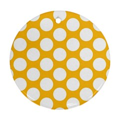 Sunny Yellow Polkadot Round Ornament by Zandiepants