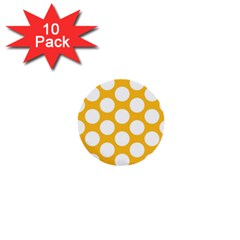 Sunny Yellow Polkadot 1  Mini Button (10 Pack) by Zandiepants