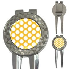 Sunny Yellow Polkadot Golf Pitchfork & Ball Marker by Zandiepants