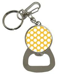 Sunny Yellow Polkadot Bottle Opener Key Chain by Zandiepants