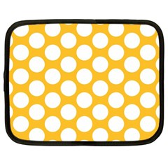 Sunny Yellow Polkadot Netbook Sleeve (xl) by Zandiepants