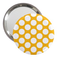 Sunny Yellow Polkadot 3  Handbag Mirror by Zandiepants