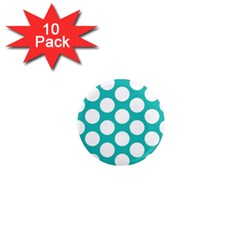 Turquoise Polkadot Pattern 1  Mini Button Magnet (10 Pack) by Zandiepants