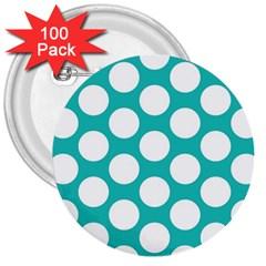 Turquoise Polkadot Pattern 3  Button (100 Pack) by Zandiepants