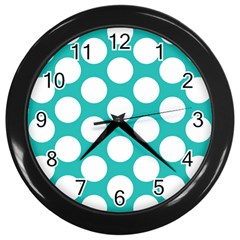 Turquoise Polkadot Pattern Wall Clock (Black) by Zandiepants