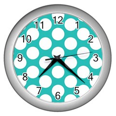 Turquoise Polkadot Pattern Wall Clock (silver) by Zandiepants