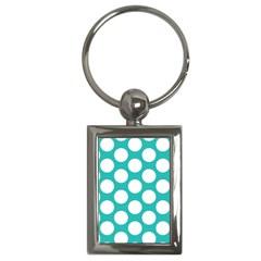 Turquoise Polkadot Pattern Key Chain (rectangle) by Zandiepants
