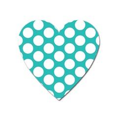 Turquoise Polkadot Pattern Magnet (heart) by Zandiepants